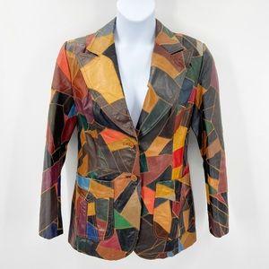 Vintage 70's Leather Patchwork Blazer Jacket 15/16